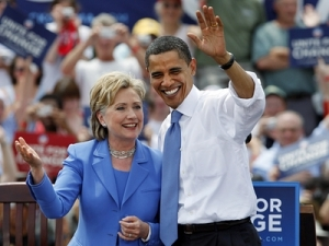 President Obama with Democratic Presidential nominee Hilary Clinton