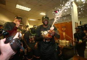 LeBron James celebrating after beating the Warriors
